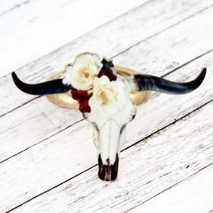 Jewelry - Steer Head Long Horn FLoral rose Wreath Ring Boho